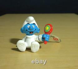 Smurfs 20540 Classic Baby Smurf With Rattle Vintage Figure PVC Toy Figurine Peyo