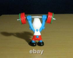 Smurfs 20737 Weightlifter Smurf Hefty Barbell Figurine Vintage PVC Toy Figure