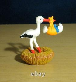 Smurfs 40248 Stork & Baby Smurf Bird Nest Rare Vintage Figure PVC Toy Figurine