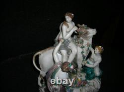 Spring Sale! Antique MID 19th C. Meissen Figurine Europa And The Bull 9x8x5