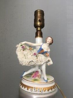 Stamped Volkstedt Muller Dresden Ballerina Lace Skirt Figurine Lamp Antique