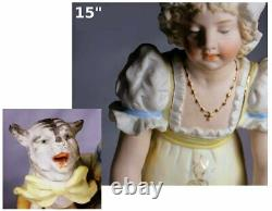 Super Rare Gebruder Heubach Anthropomorphic Singing Cat German Bisque Figurine