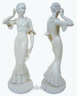 VINTAGE German ART DECO FEMALE FIGURINE 1930s Porcelain Pottery PRICE REDUCED