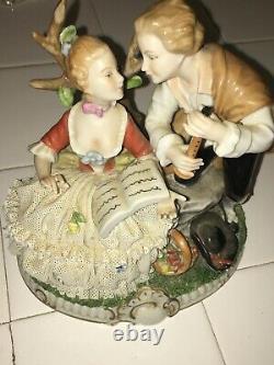 VINTAGE Unterweissbach Dresden GENT and LADY FIGURINE Porcelain Germany