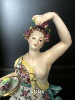 VOLKSTEDT Porcelain MUSE Goddess Lady with Grapes 10.75 Germany Antique Figurine