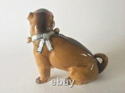 Victorian Conta & Boehme Porcelain PUG Dog with Bells Figurine Antique Germany