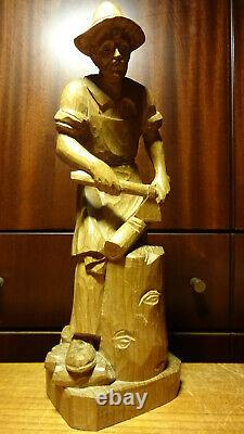 Vintage 12 Hand Carved Woodcutter Lumberjack + Axe Choping Wood Statue Figurine