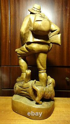Vintage 15 Wood Hand Carved German Hunter Huntsman + Dog + Gun Statue Figurine
