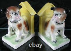Vintage 1930s Cute Bulldog Bookends Norwood Cincinnati German Porcelain