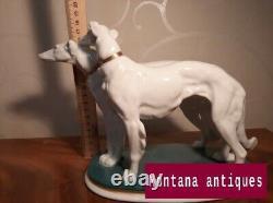 Vintage 20th Germany Original Greyhound Dogs Porcelain Figurine Karl ENS marked