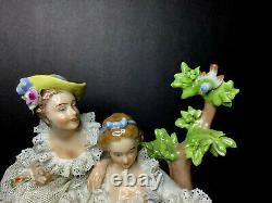 Vintage Dresden Art Porcelain Lace Victorian Figurine-2 girls with birds