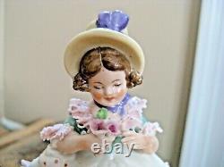 Vintage Frankenthal Germany Dresden Lace Victorian Flower Girl 5 1/4 Figurine