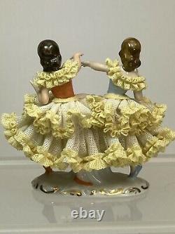 Vintage German Dresden Lace Porcelain Group Figurine 2 Girls Dancing Ballerinas