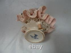 Vintage Germany Porcelain Dresden Lace Woman with Pink & White Dress Figurine