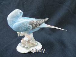 Vintage Hutschenreuther Karl Tutter Blue Parakeet / Budgie Bird Figurine 5 H