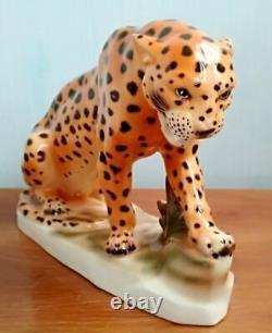 Vintage Original Rare porcelain figurine LEOPARD Germany SITZENDORF Marked