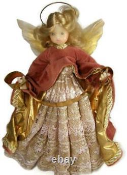 Vintage Pauline Leidel Spreen Christmas Wax Angel Tree Topper Germany Gold Gown
