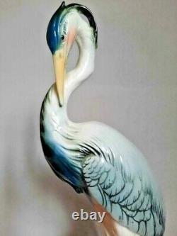 Vintage Porcelain figurine KARL ENS marked Birds heron Germany Rare special gray