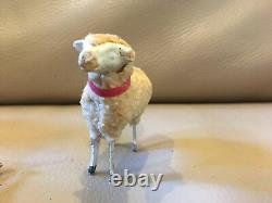 Vintage Putz Christmas 5 Sheep Lamb Nativity Wooly Stick Leg 2 Trees Germany