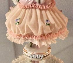 Vintage SITZENDORF Germany Lace Dancer With Tambourine Figurine