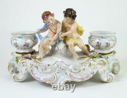 Vintage Sitzendorf Figural Inkwell Rococo Style Putti & Urns Porcelain Figurine