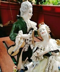 Vintage Unterweissbach Porcelain Lace Dress Dresden Art Germany Figurine