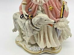 Vintage Very Rare Franz Witter Dresden Germany Countess WithBorzoi Dog Figurine
