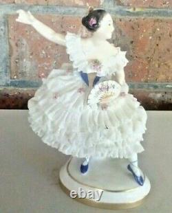 Vintage Volkstedt Dresden Figurine Porcelain Lace Ballerina Dancer Germany