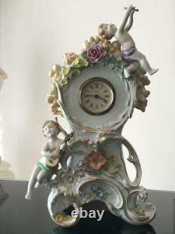 Vintage Von Schierholz Porcelain Clock with Kaiser Movement and Two Candelabra