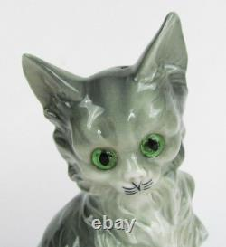 Vintage Western Germany Porcelain Gray Tabby Cat with Glass Eyes Perfume Lamp