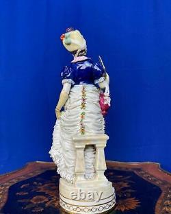 Vintage original porcelain lace figurine Germany 1940s Volkstedt RARE