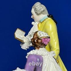 Vintage original porcelain lace figurine volkstedt victorian RARE 1950s germany