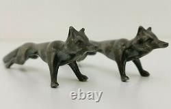 Vtg 1920s WMF Jugendstil Art Deco Pair of Fox Figure Figurine Pewter Knife Rests