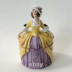 Vtg Lady Powder Box Vanity Dresser Jar Woman Crinoline Figurine Porcelain German