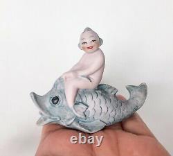 Vtg Mermaid Pixie Figurine Aquarium Decor Bisque Porcelain Antique Germany